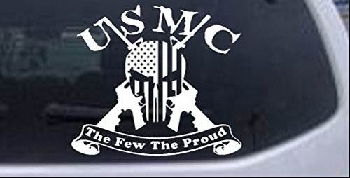 Flag Decal Marine Corps (Rad Dezigns USMC United States Marine Corps The Few The Proud Punisher Skull US Flag Crossed AR15 Guns Military Car or Truck Window Laptop Decal Sticker - White 6in X 6.7in)