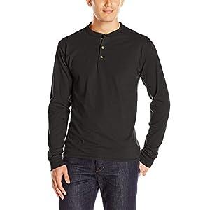 Hanes Men's Long-Sleeve Beefy Henley T-Shirt - Large - Ebony