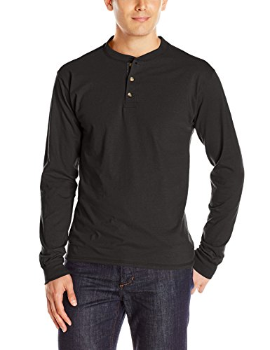 Hanes Men's Long-Sleeve Beefy Henley T-Shirt - Large - Ebony