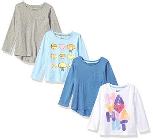 (Amazon Brand - Spotted Zebra Girls' Little Kid 4-Pack Long-Sleeve T-Shirts, Basketball Heart, Small (6-7))