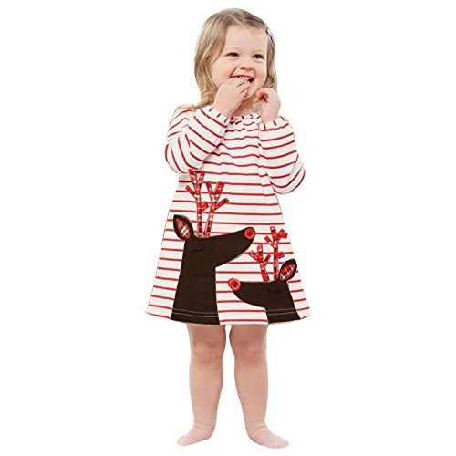 Amazon.com: Honhui 2017 New Christmas Toddler Kids Girls Deer Long Sleeve Striped Princess Dress Outfits Clothes: Clothing