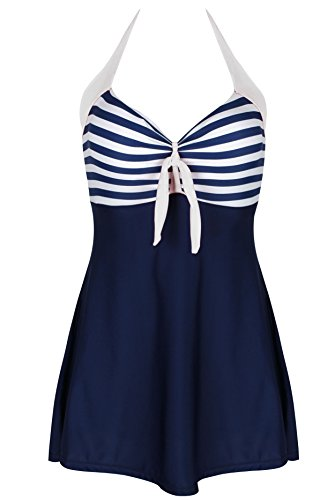Kiddom Women Vintage Sailor Pin Up Skirted Swimsuit Halter Stripes Beach Dress Navy White M(US 4-6) (Striped Navy Dress Suit)