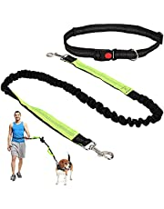 Hands Free Dog Leash for Training Hiking Walking Jogging, Dual Handle ,Bungee Leash, Adjustable Waist Belt, Shock Absorbing, Suitble for Small to Medium Dogs (Black W Fluorescent Green)