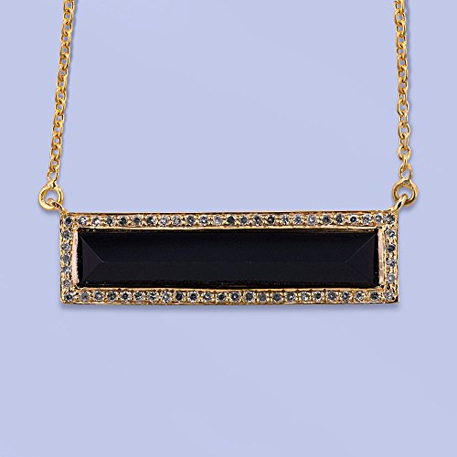 Fine 18k Yellow Gold Pave Diamond Black Onyx Gemstone Rectangle Pendant Necklace Handmade Jewelry