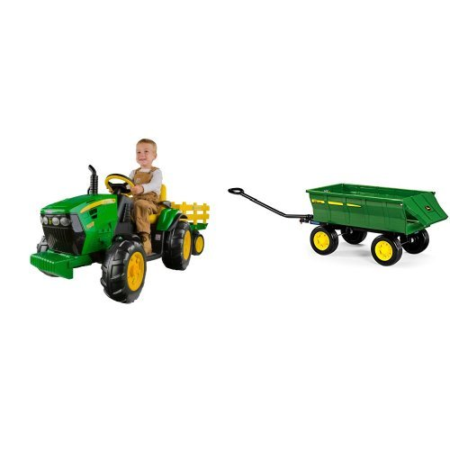 Peg Perego John Deere Ground Force Tractor with Trailer and Green Farm Wagon Bundle