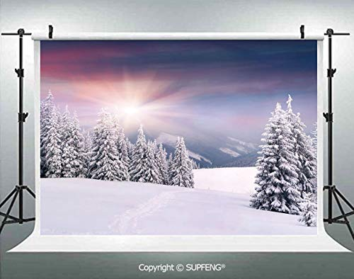 Photography Backdrops Idyllic Image of Snow Season Outdoors Frozen Highlands Sunset in Cold Weather Print 3D Backdrops for Photography Backdrop Photo Background Studio Prop -
