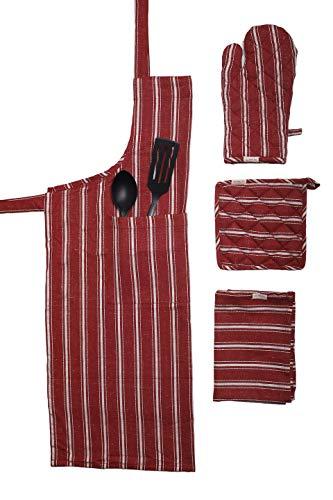 (Kitchen Linen Set,100% cotton Kitchen combo,set of 4, Essentials for all Kitchen Apron 2835