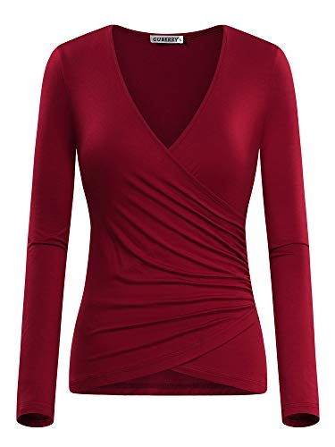 GUBERRY Women's Fitted Shirt Unique Cross Wrap Long Sleeve Deep V Neck Top Wine