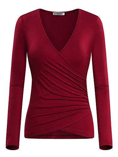 GUBERRY Wrap Shirts for Women Surplice Slim Fit Long Sleeve Deep V Neck Top Wine - Long Sleeve Surplice