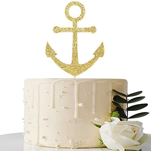 Gold Glitter Ship Anchor Cake Topper - for Baby Shower/Nautical Themed Party/Navy Themed Bon Voyage/Navy Wedding Party Decorations Supplies]()