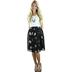Mikarose Pleated Full A-Line Modest Skirt In Black w/Cream Floral Print