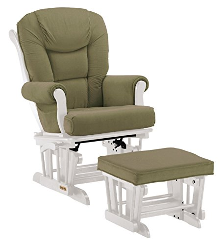 Shermag White/Harrison Basil Combo Glider with Lock/Ottoman