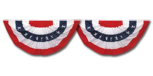 Two Pack Of 3-Foot x 1-1/2-Foot Pleated Mini Fans With Stars Bunting