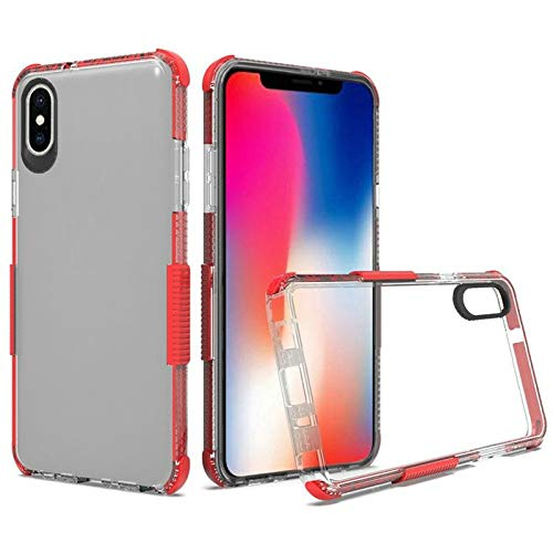 Insten Ultra Edge Sturdy Bumper PC/TPU Rubber Case Cover Compatible with Apple iPhone Xs Max, Clear/Red