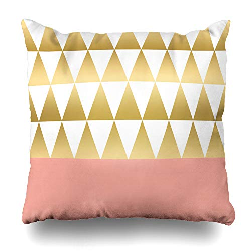InnoDIY Throw Pillow Covers Modern Gold White Triangles