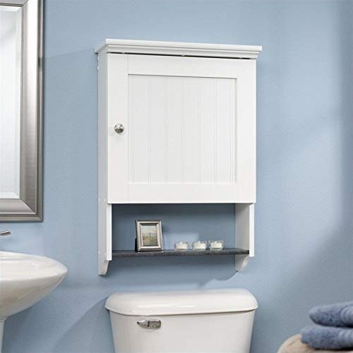 """Sauder Woodworking 414061 Caraway Wall Cabinet, L: 19.92"""" x W: 7.48"""" x H: 28.74"""", Soft White"""