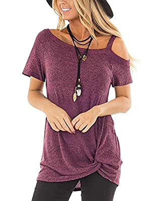 SAMPEEL Women's Clod Shoulder T Shirts Twist Knot Tunics Tops