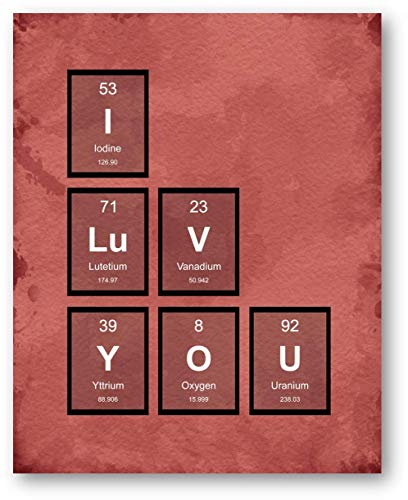 I LUV YOU Periodic Table of Elements Home Decor Prints - 11 x 14 Unframed Print - Great Gift for Loved Ones, Valentines, Geeks, Scientists and Techies. Bedroom Wall Decor - Home Office Artwork