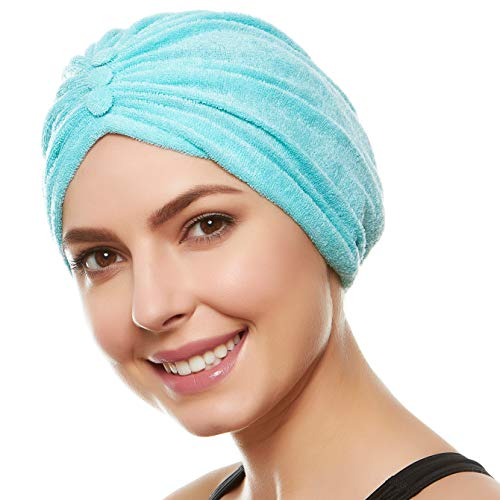 Beemo Soft Terry Cloth Turban Head Cover- Turquoise