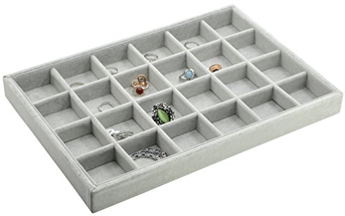 ADTL Jewelry Storage Organizer Jewelry Tray Inserts 24 GridS Jewelry Storage Case Jewelry Tray Velvet Grey Jewelry Box