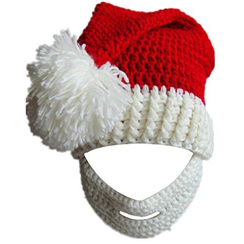 Kafeimali Unisex Christmas Winter Knitted Crochet Beanie Santa Hat with Beard Foldaway Bearded Caps (White) ()