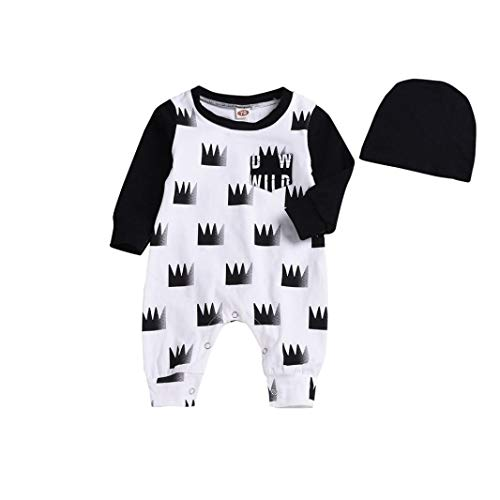 Jchen(TM) Clearance! Newborn Infant Baby Boy Long Sleeve Crown Romper Jumpsuit Hat Clothes Outfit Sets for 0-24 Months (Age: 3-6 Months)
