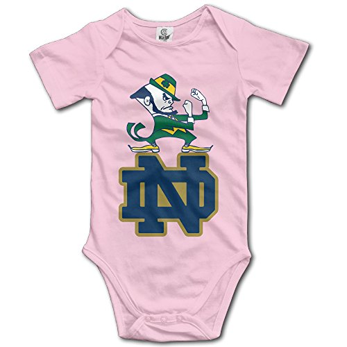 Price comparison product image Ogbcom Baby's University Of Notre Dame ND Logo Hanging Bodysuit Romper Playsuit Outfits Clothes Climbing Clothes Short Sleeve Pink