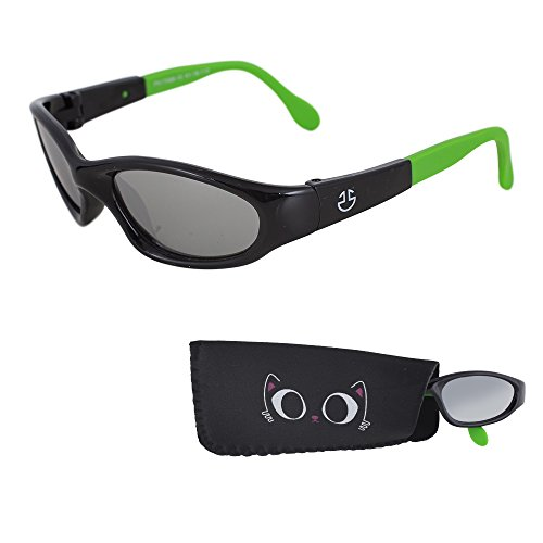 REVO Sunglasses for Babies – Silver Mirrored Lenses - Reduces Glare, 100% UV Protection for Infants and Toddlers Ages 1 Month to 3 Years - Shiny Black Frame, Green Tips - Sunglass Revo