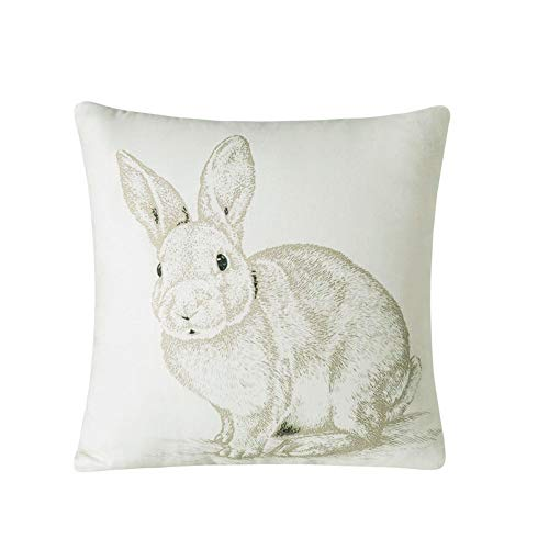 Whoyun Decorative Easter Bunny Farmhouse Throw Pillow Covers Home Decor Pillowcases Linen Soft Cushion Cover 18 x 18 Cute Funny -