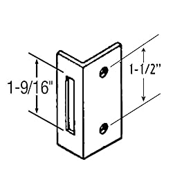 """Chrome Plated Zamac Keeper for Restroom Partition Slide Latch, 1-1/2"""" Between Mounting Holes. Latch Opening is 1-9/16"""" High"""