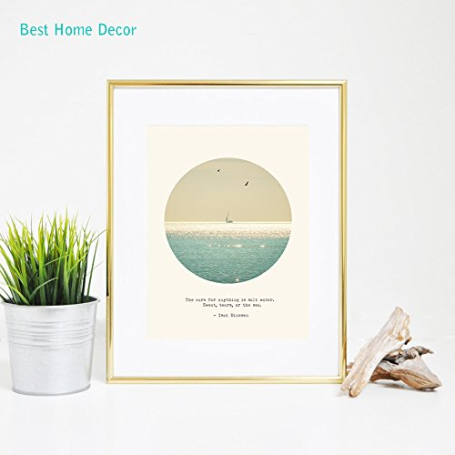 The Cure for Anything Is Salt Water. Sweat, Tears, or The Sea. Art Print Fine Art Paper Poster Wall Hanging No Frame AP104