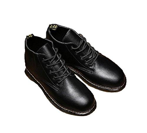 cargadores ocasionales de los nuevos hombres se deslizan los zapatos resistentes al grueso de la moda de los hombres de marea utillaje Martin botas de Inglaterra Black