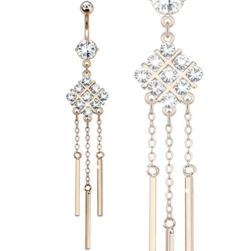 Paula & FRITZ Piercing Nombril or rose Acier chirurgical mot-dièse Multi avec Zirconium String Dangles