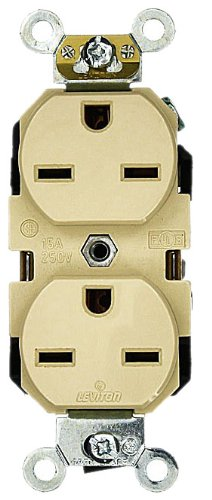 Leviton 5662-I 15 Amp, 250 Volt, Industrial Heavy Duty Grade, Duplex Receptacle, Straight Blade, Self Grounding, Ivory ()