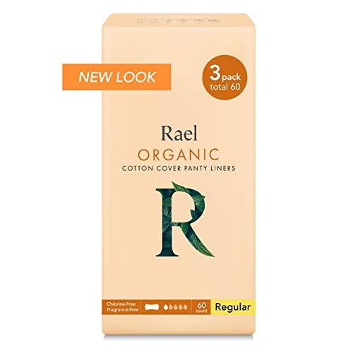 Rael Certified Organic CottonPanty Liners, Regular - 3Pack/60 total - Unscented Pantiliners - Natural Daily Pantyliners (3 Pack) (Natracare Organic Panty Liners)