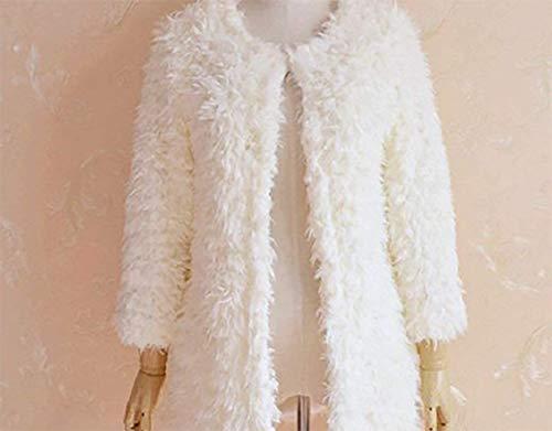 Sintetica Rotondo Giacca Pelliccia Giovane Monocromo Di Invernali Collo Donna Manica Estilo Especial Moda Lanoso Bianca Coat Lunga PP18r