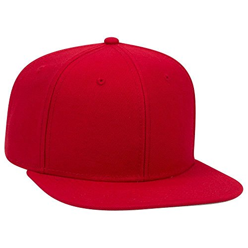 OTTO Wool Blend Twill Square Flat Visor SNAP 6 Panel Snapback Hat - Red