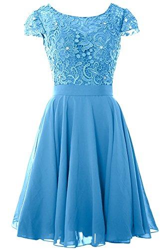 AbendKleid Abschlussball Rüschen Chiffon Damen Brautjunfer Spitze Blau Kleid Carnivalprom und Kurz 8zgCwY