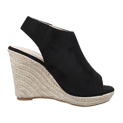 Ital-Design Damen Schuhe, YL014, Pumps Keil Wedges Plateau Sandaletten Schwarz