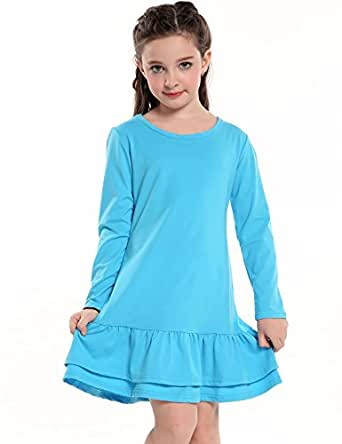 Arshiner Girls Cotton Long Sleeve A-Line Ruffle Hem Dress for School, Blue, 100(Age for 3-4Years)