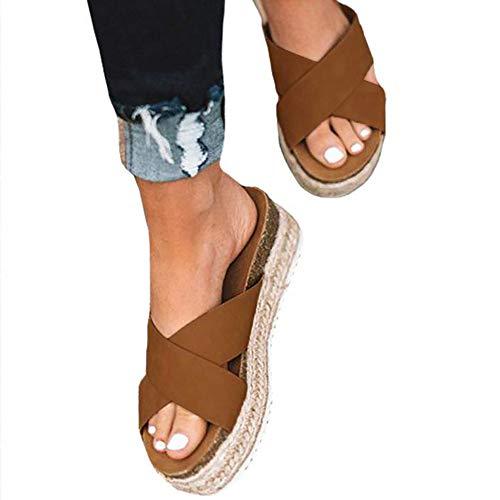 - Athlefit Women's Slip On Platform Sandals Espadrille Strap Cork Wedge Sandals Size 5.5 Brown