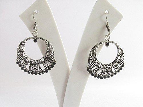 Antique Silver Black Chandelier/Indian jhumka/Boho Gypsy Jhumka Earrings/Filigree Brass /Jaipur jhumkas/Tribal Bohemian Jhumka Earrings