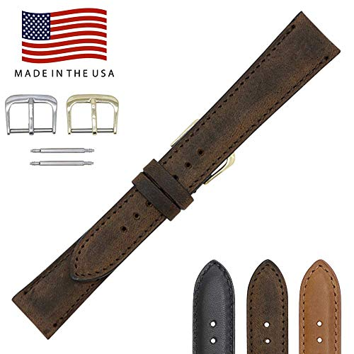 16mm Brown Vintage Naturally Distressed Genuine Leather - Padded Sewn Watch Strap Band - Gold and Silver Buckles Included - Factory Direct - Made in USA by Real Leather Creations FBA119 ()