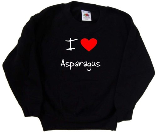 I Love Heart Asparagus Black Kids Sweatshirt (White print)-14-15 Years