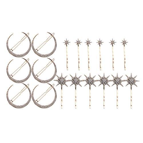 Jili Online 18 Pieces Elegant Crystal Crescent Moon Star Women Bride Rhinestone Hairpins Hair Clip