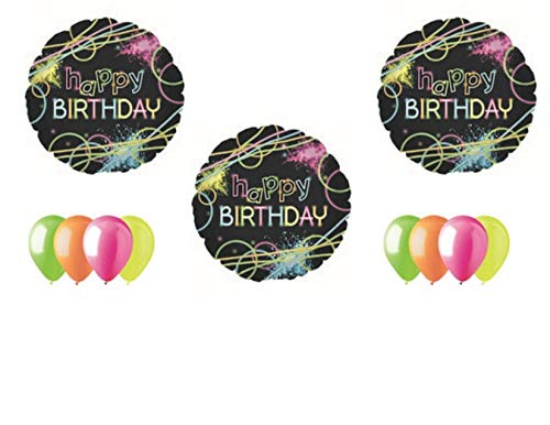 (Neon Laser Tag Glowsticks Birthday Party Balloons Decoration Supplies)