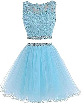 Dydsz Women's Short Party Prom Dresses Homecoming Dress 2 Piece Plus Size 2017 D127
