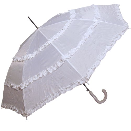 RainStoppers Women's Open Parasol Umbrella with Three Ruffles, White, 48-Inch