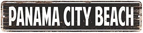 Panama City Beach Vintage Look Rustic Metal Sign Chic City State Retro 4x18 G4181472 (Panama Beach Decor City Beach)