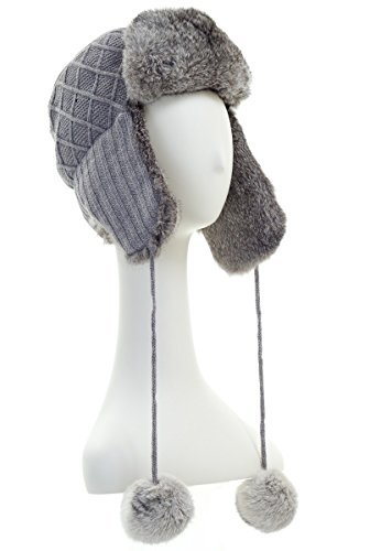 Surell Womens Grey Rabbit Fur Trimmed Knit Trapper / Avaitor Hat w/ Pom Pom by Surell (Image #1)